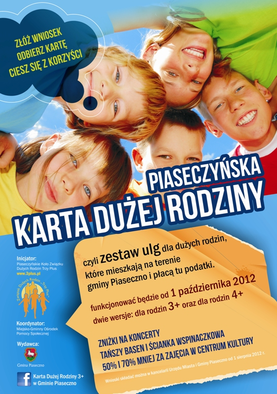 Plakat promujący Piaseczyńską Kartę Dużej Rodziny.