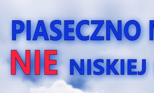 Hasło promujące konkurs niska emisja - Piaseczno mówi nie niskiej emisji