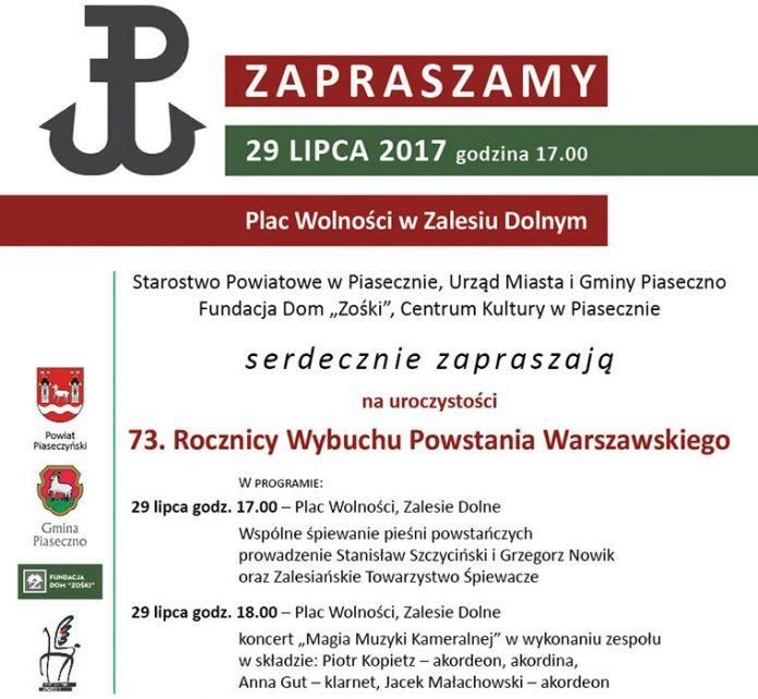Zaproszenie na 29 lipca 73 rocznica Powstania Warszawskiego