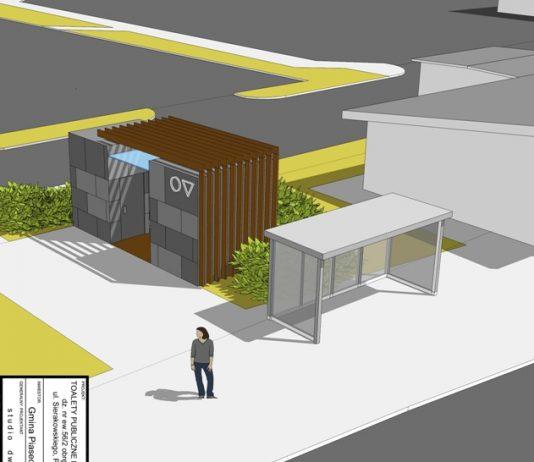 Wizualizacja toalety publicznej, projekt studio dwa
