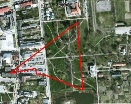 Orientacyjna mapka zasięgu strefy w parku miejskim