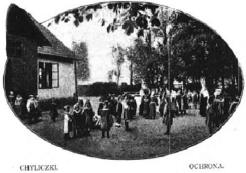 Zdjęcie ochronki z książki Bagieńskich - Chyliczki Dworskie. Autor n. n., Zakład Gospodarstwa Kobiecego w Chyliczkach, 28 luty 1908