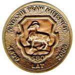 Awers - medalu z okazji 580 rocznicy nadania praw miejskich dla Piaseczna