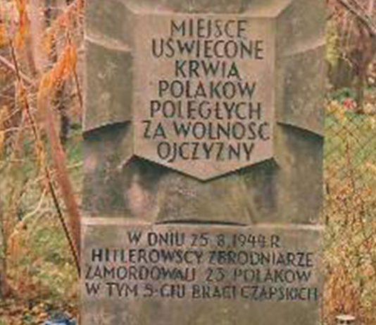 Obelisk w miejscu rozstrzelania 25 sierpnia 1944 r.