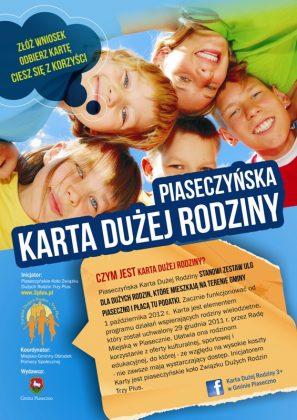 Ulotka promocyjno-informacyjna Karty Dużej Rodziny w Piasecznie - strona 1.
