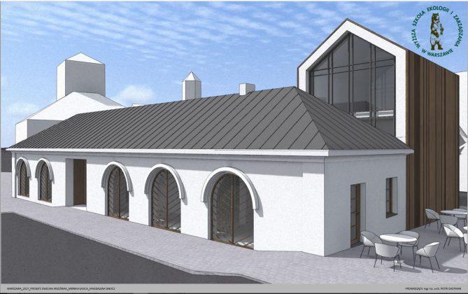 wizualizacja budynku po dawnej strażnicy OSP Piaseczno