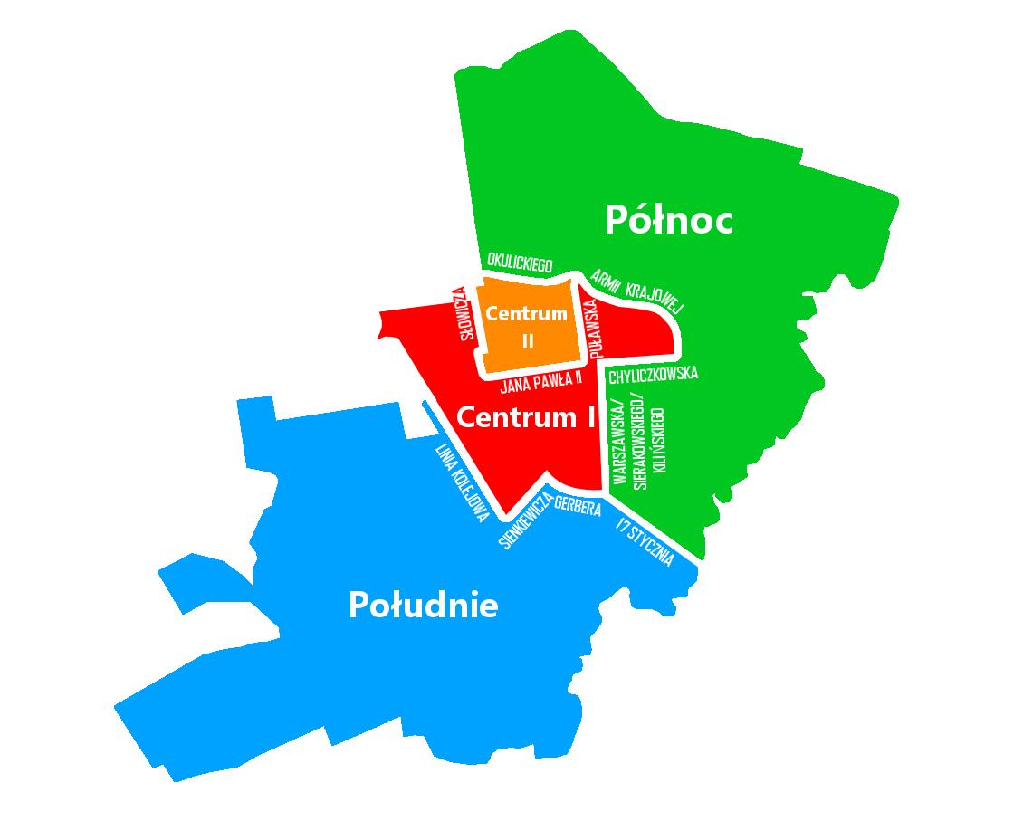 Mapa obszarów budżetu obywatelskiego Piaseczna