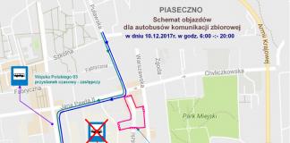 Schemat objazdów dla autobusów komunikacji zbiorowej 10.12.2017