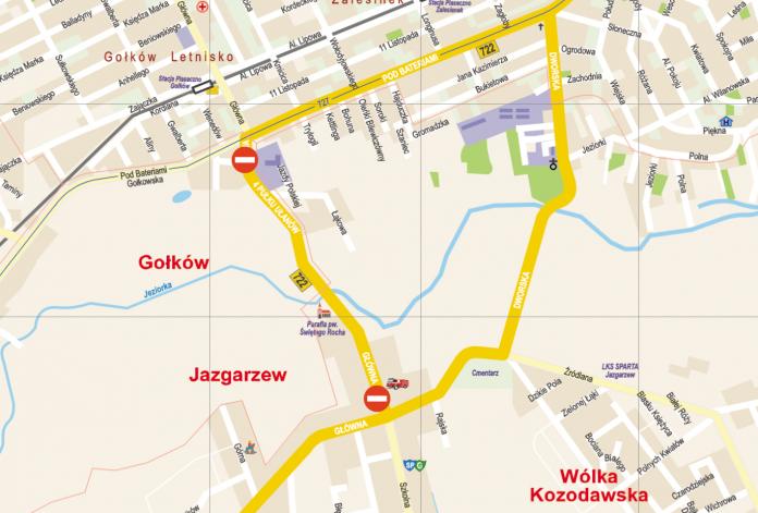 Mapa poglądowa remontowanej drogi wojewódzkiej w Jazgarzewie