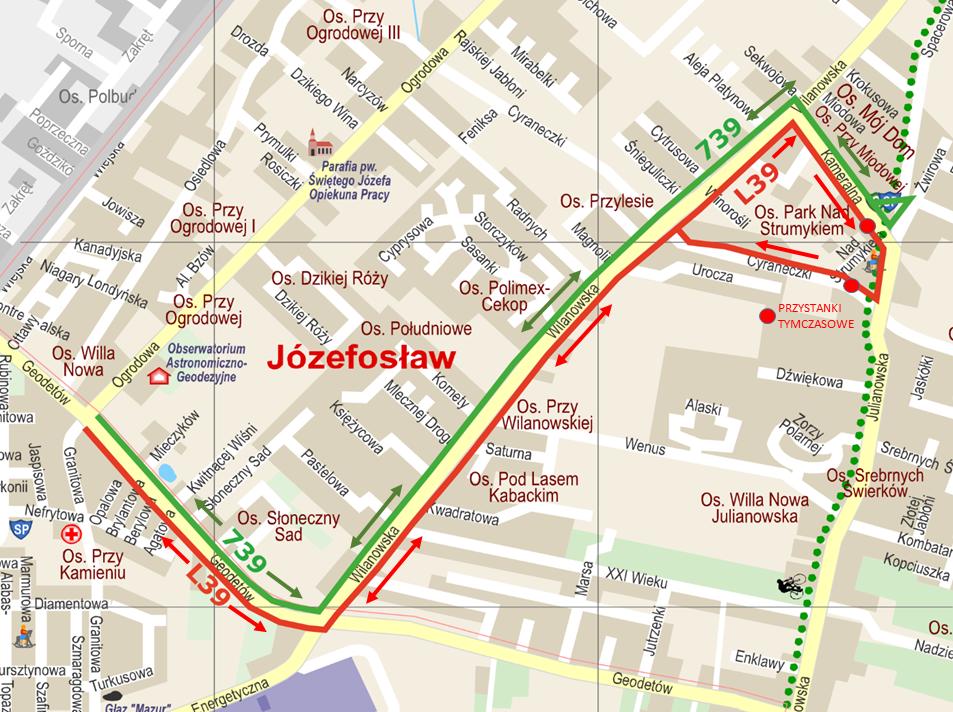 Trasa autobusów 793 i L39 w Józefosławiu