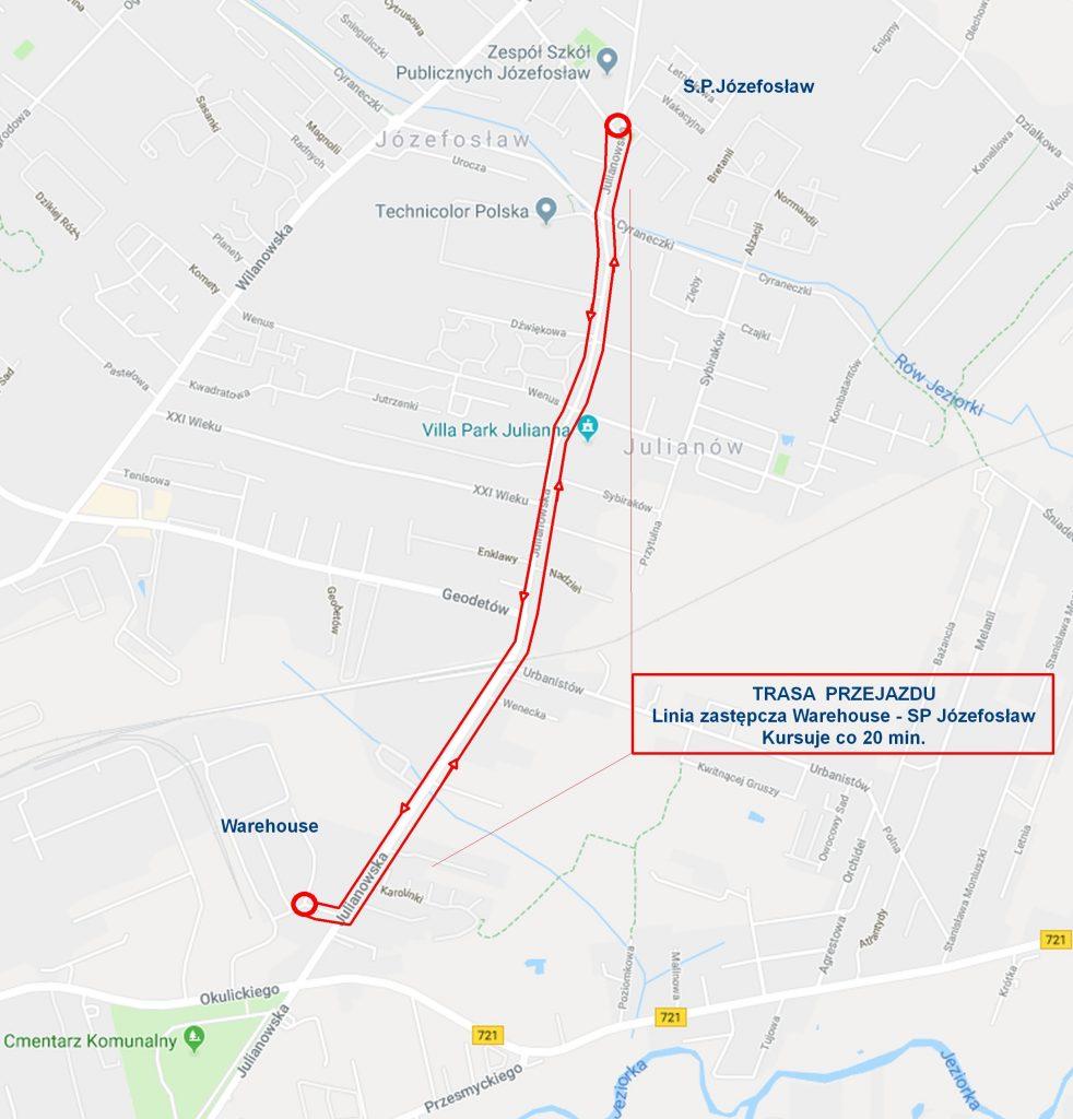 Schemat trasy linii zastępczej Magazyny Warehouse - SP Józefosław