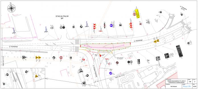 Czasowa organizacja ruchu na drodze wojewódzkiej nr 721 na skrzyżowaniu ul. Okulickiego z ul. Wojska Polskiego