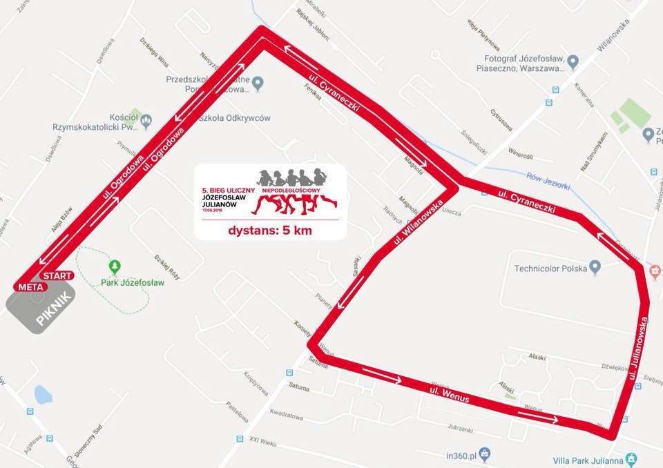 Trasa biegu ulicznego w Józefosławiu