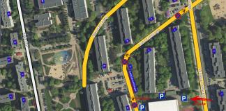 Parking przy szkole na czas przebudowy ul. Szkolnej - źródło mapy: piaseczno.e-mapa.net opracowanie: Marcin Borkowski