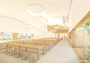 Nowoczesne wnętrza projektowanej szkoły w Julianowie - wizualizacja ARCHIMED