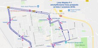 Zmiany trasy i rozkładu linii P-1
