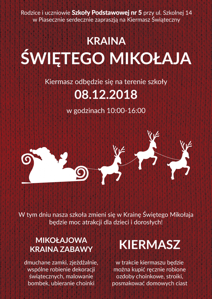 Kraina Świętego Mikołaja - kiermasz szkolny w SP 5