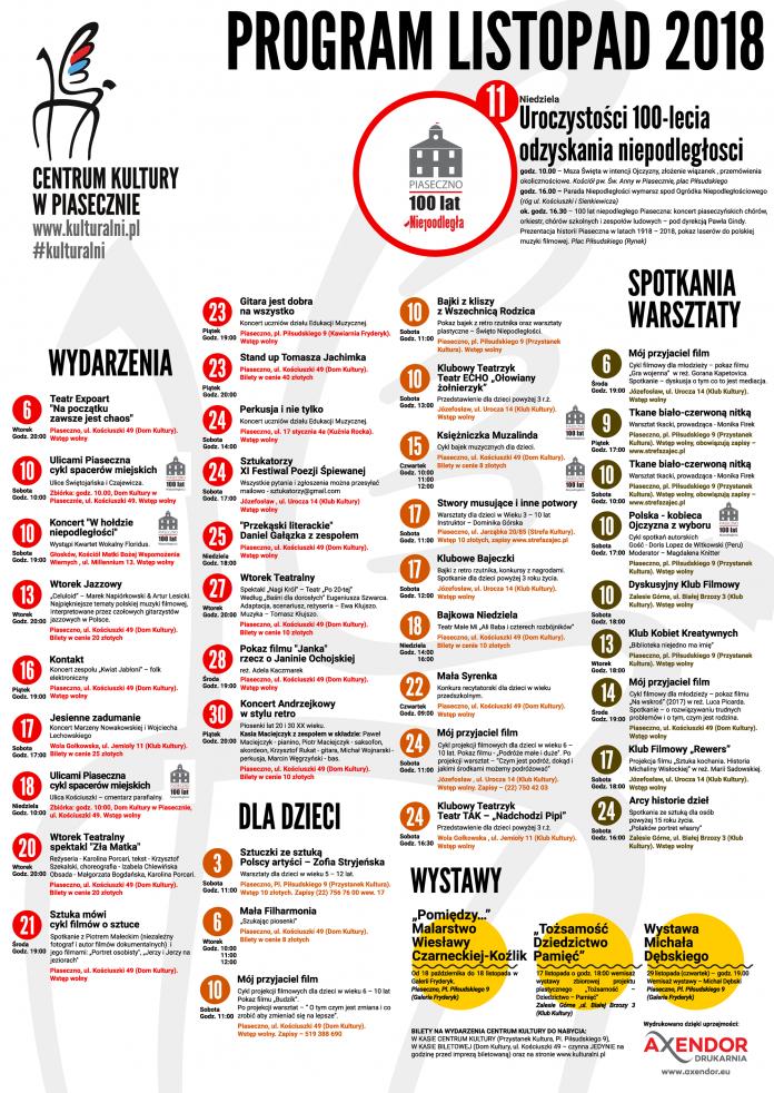 Listopad 2018 kalendarium wydarzeń CK Piaseczno