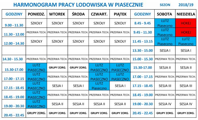 Harmonogram pracy lodowiska w Piasecznie