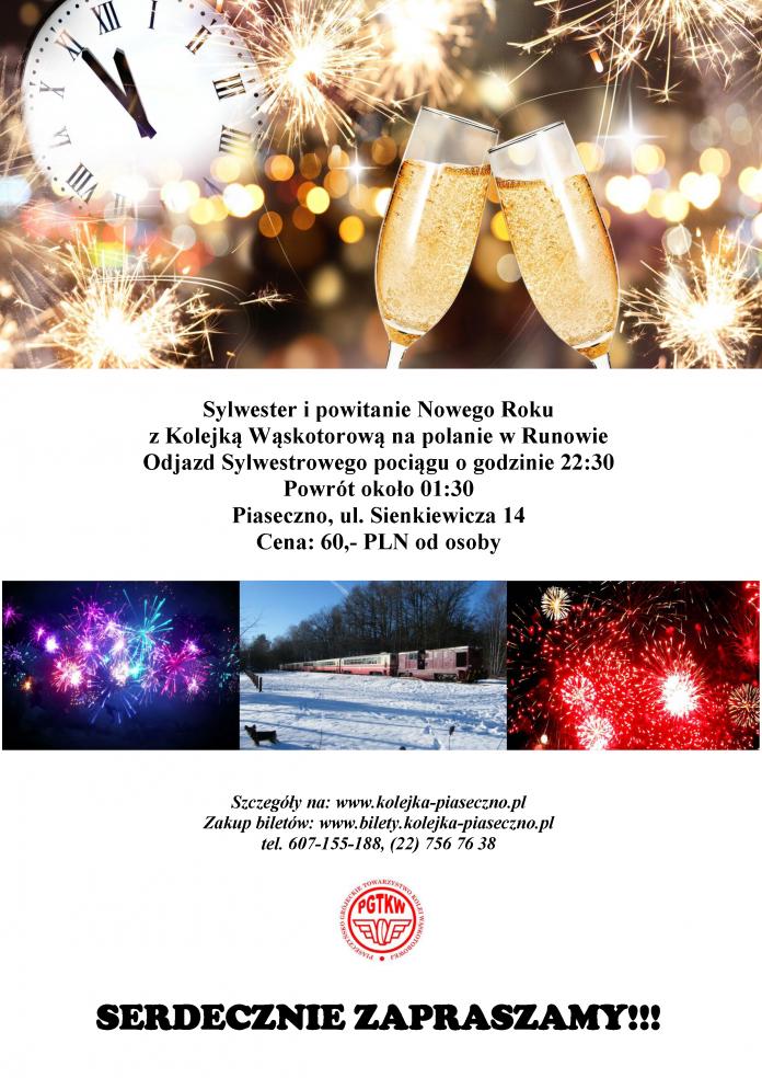Sylwester i powitanie Nowego Roku z Kolejką Wąskotorową