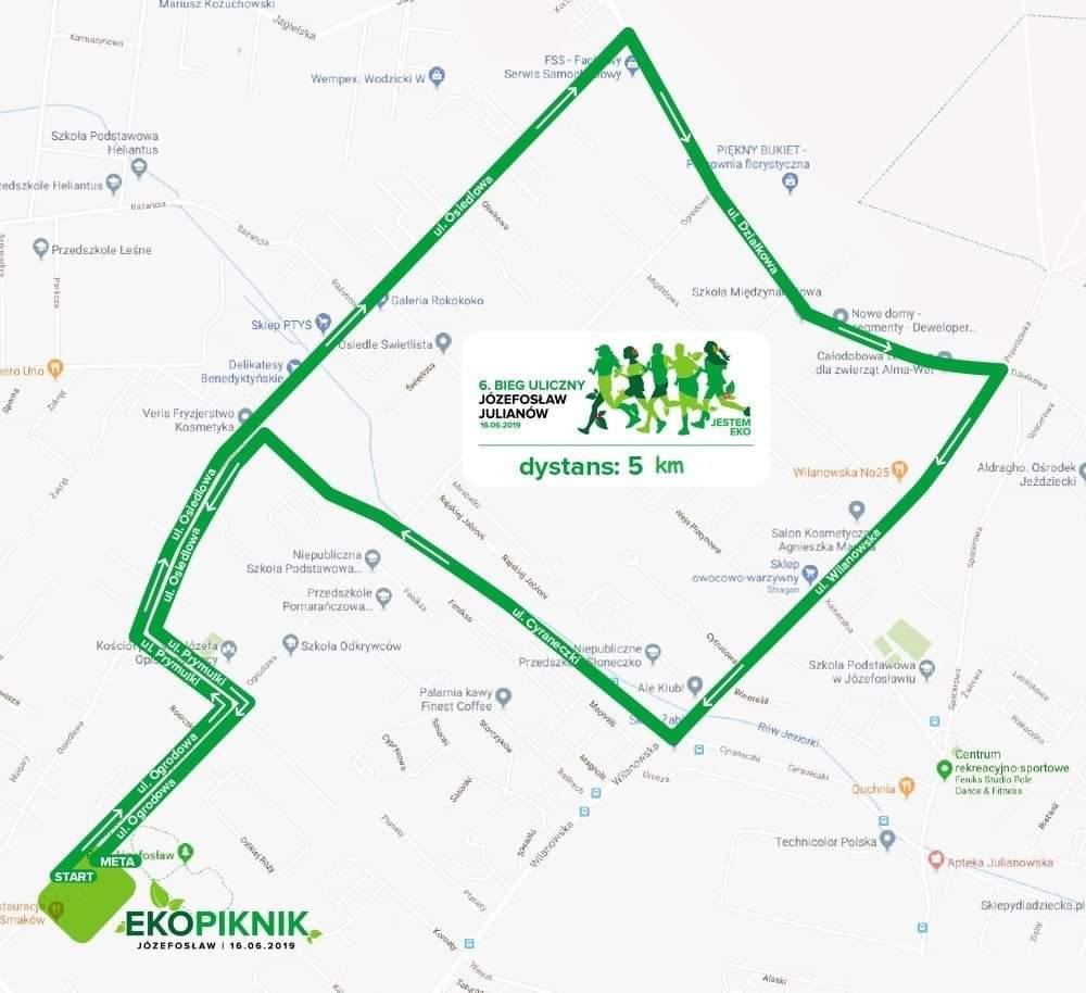 Mapa trasy 6. Biegu Józefosławia i Julianowa