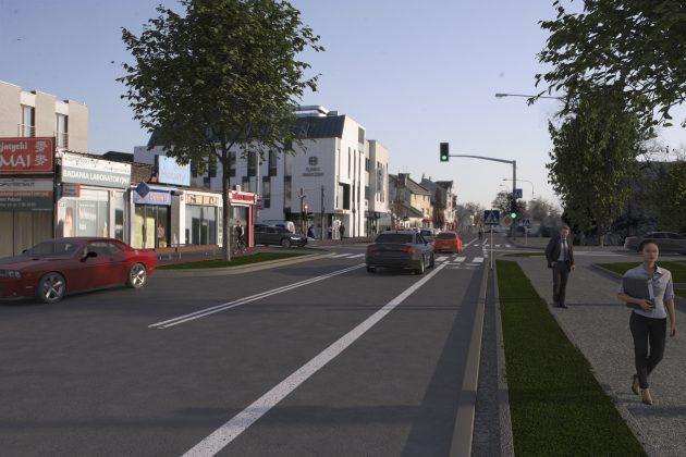Wizualizacja bezpieczne drogi dla rowerzystów w centrum Piaseczna