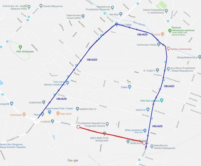 Zamknięcie ul. Geodetów - od Tenisowej do Julianowskiej