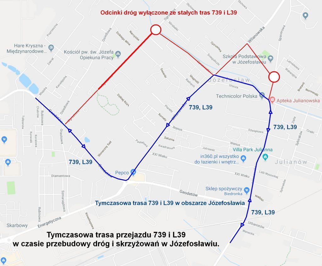 Zmiana tras linii 739 i L39