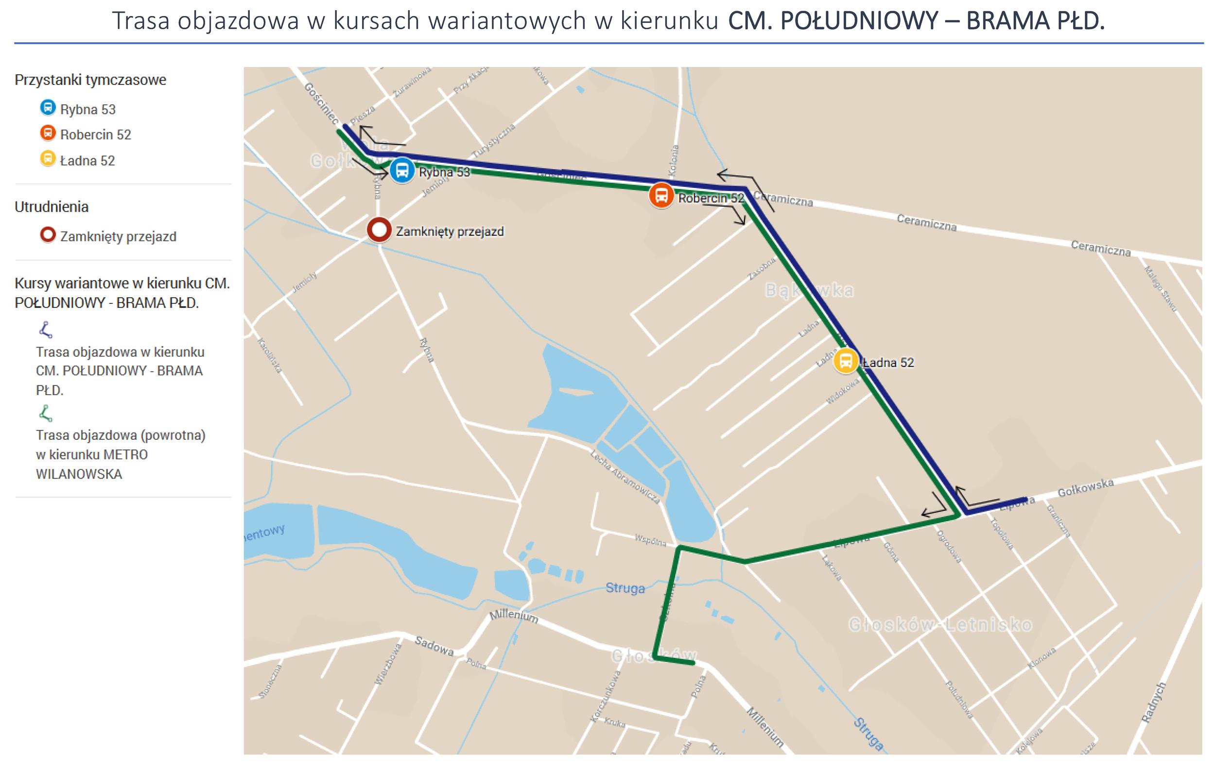 Trasa objazdowa w kursach wariantowych w kierunku CM. POŁUDNIOWY