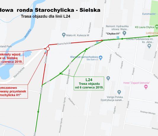 Trasa objazdu L24 na czas budowy ronda w Chylicach