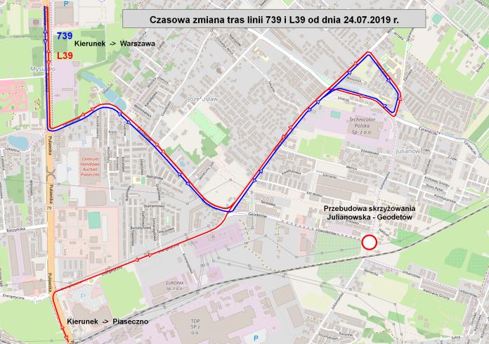 Zmiana tras linii komunikacji publicznej 739 i L39 na czas remontu skrzyżowania Julianowska i Geodetów w Józefosławiu