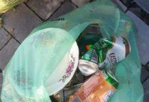 Niewłaściwe odpady w workach na szkło