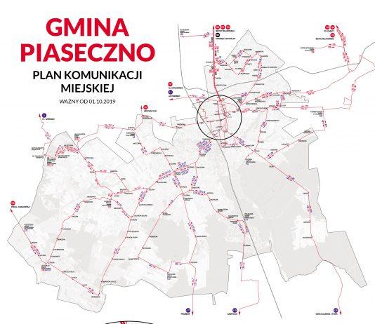 Mapa komunikacja gminy Piaseczno od 1 października 2019