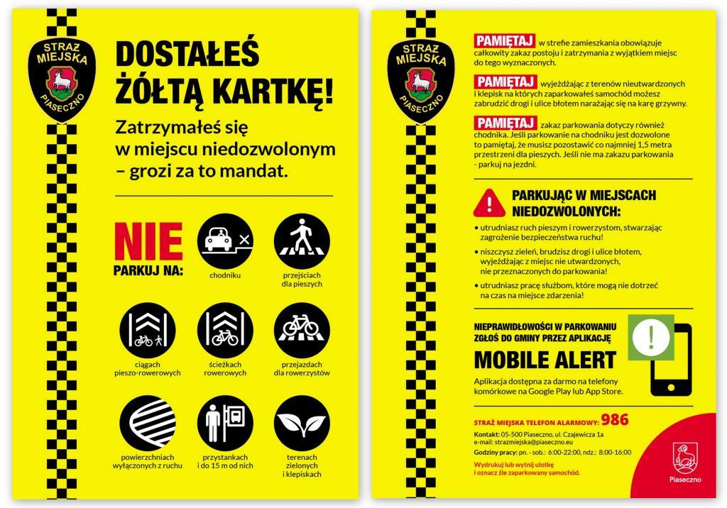 Akcja Parkuj z głową - ulotka żółta kartka za złe parkowanie