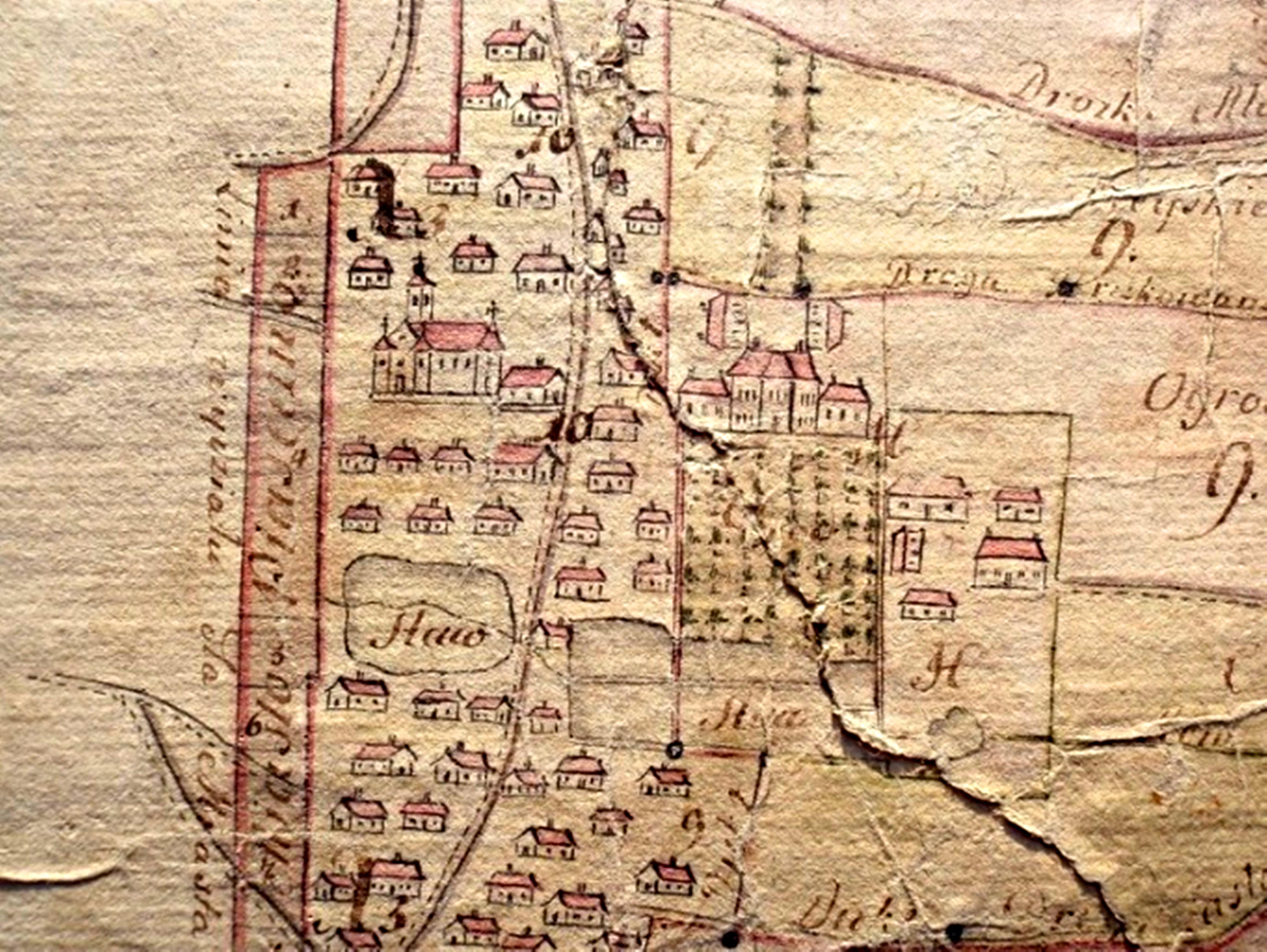 """Plan z 1780 roku - """"Mapa geometryczna miasta Piaseczno"""" sporządzona przez geometrę przysięgłego Antoniego Bojanowicza Foto zbiory muzeum"""