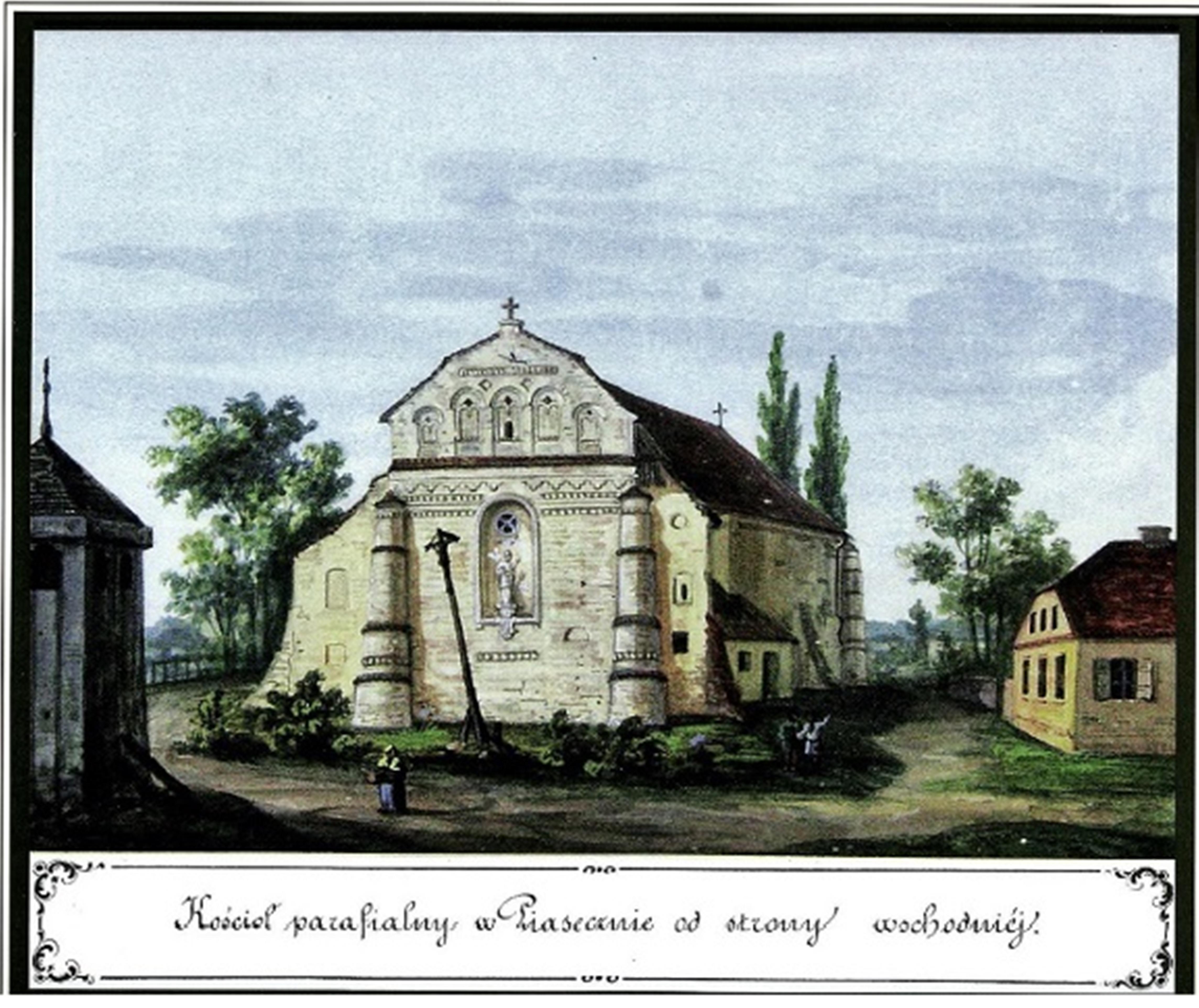 Kościół parafialny i plebania w Piasecznie od strony wschodniej. Rysunek Kazimierza Stronczyńskiego z 1844/1846 roku