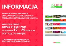Informacja GOSiR Piaseczno