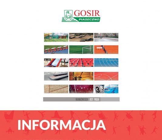 Obiekty GOSiR Piaseczno zamknięte do 13 kwietnia 2020 r.