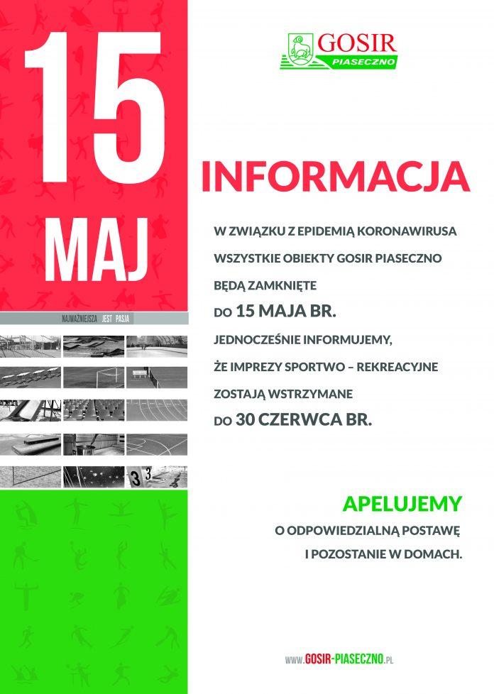 INFORMACJA: zamknięcie obiektów GOSiR do 15 maja 2020 r.