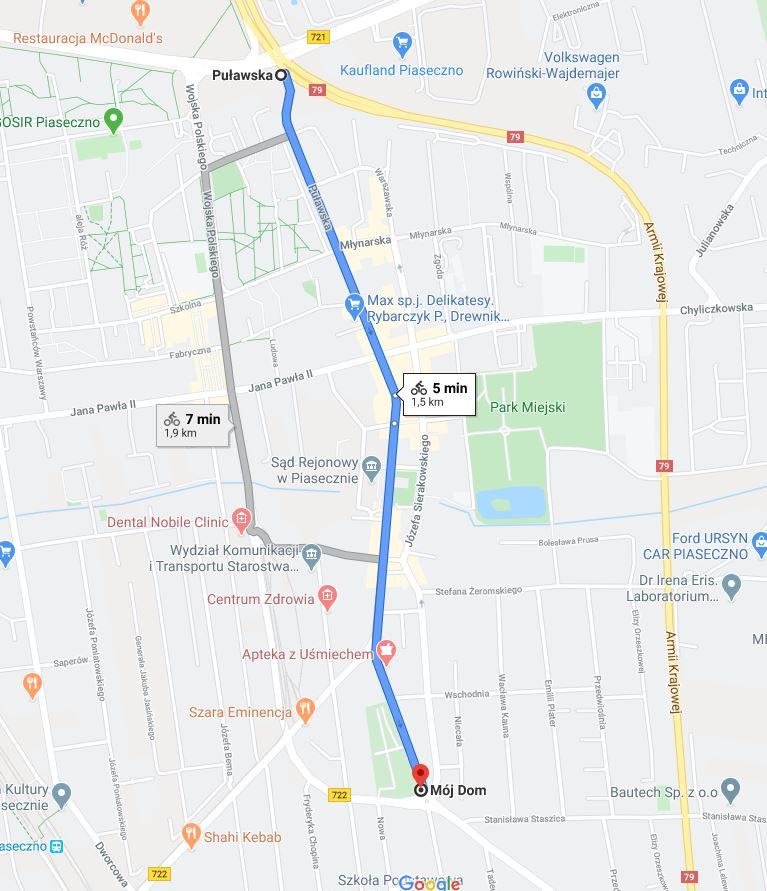 Przykładowy czas przejazdu rowerem wskazany na Google maps