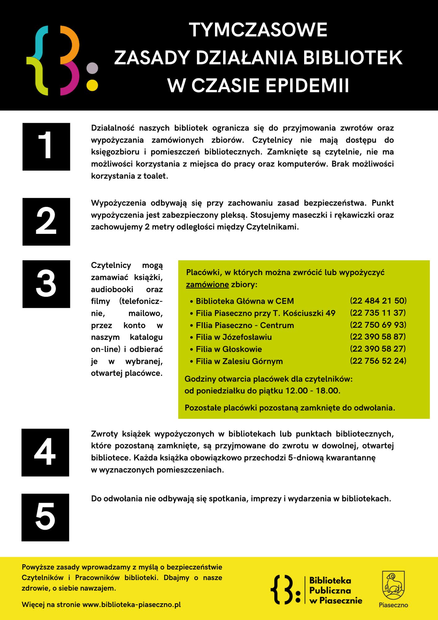 Tymczasowe zasady działania bibliotek -Biblioteka Publiczna w Piasecznie