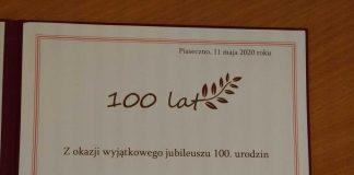 dyplom dla Jubilatki obchodzącej setne urodziny