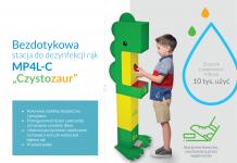 czystozaur - stacja do dezynfekcji rąk przyjazna i bezpieczna dla dzieci