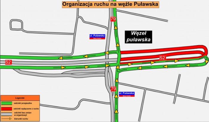 Utrudnienia na obwodnicy Warszawy, węzeł Puławska - łączenie trasy S2. Mapa: GDDKIA