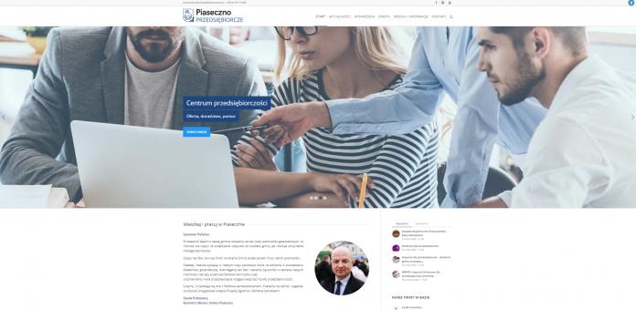 Portal dla przedsiębiorców - zrzut ekranu strony przedsiebiorcze.piaseczno.eu