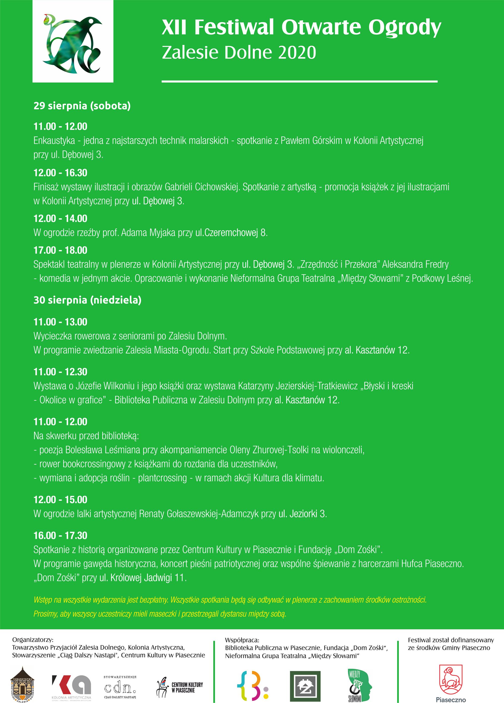 Festiwal Otwarte Ogrody w Zalesiu Dolnym 2020 plakat