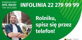 zielony baner z wizerunkiem młodego rolnika, białą czcionką napisano numer telefonu na infolinię.