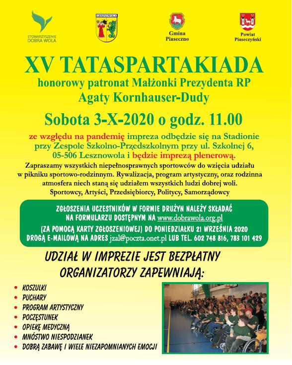 Tataspartakiada - piknik sportowo-rodzinny z udziałem osób niepełnosprawnych
