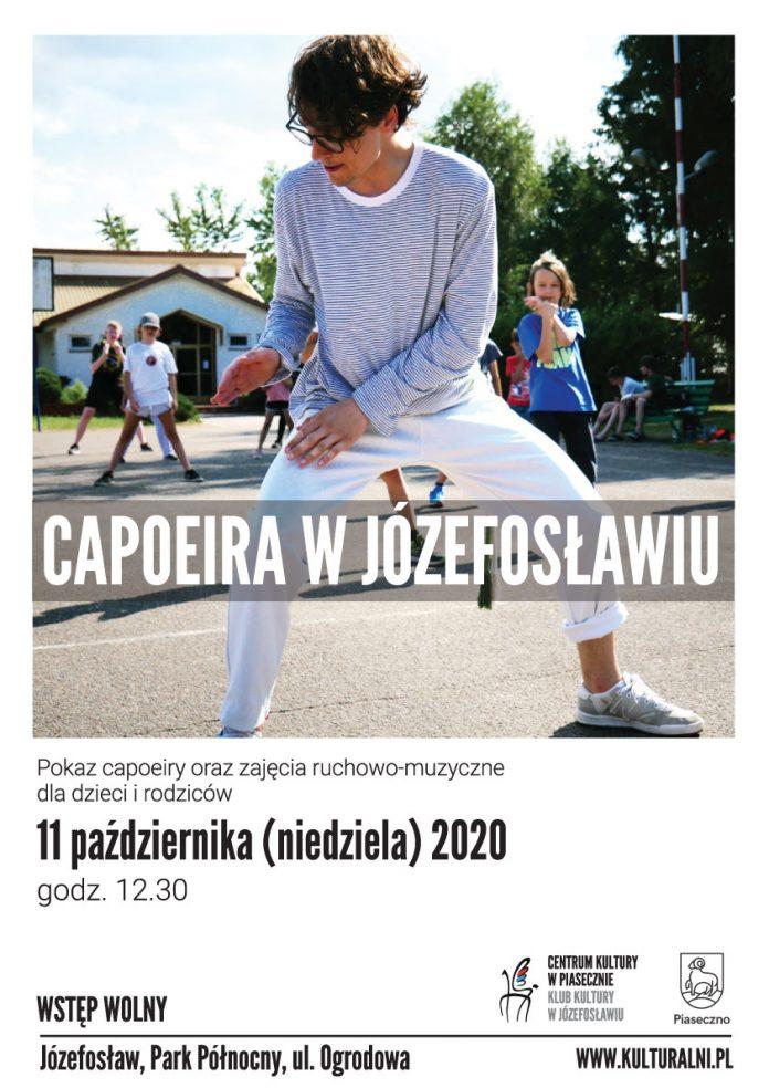 Plakat wydarzenia Capoeira w Józefosławiu. Informacje znajdujące się na grafice są podane w treści wpisu.