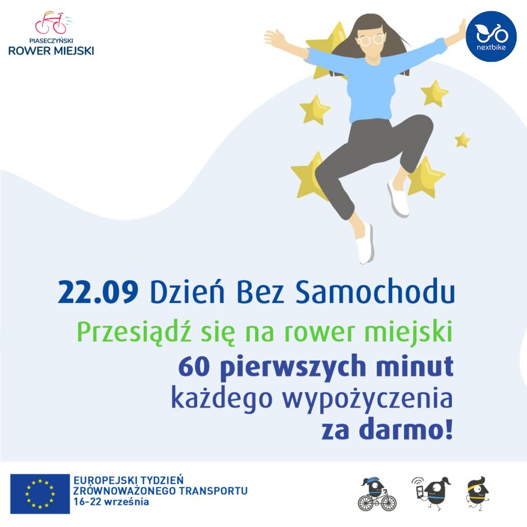 Plakat akcji Dzień bez samochodu na rowerach miejskich w Piasecznie - pierwsza godzina za darmo